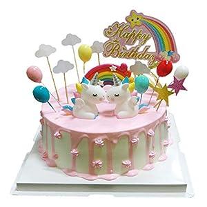 BluVast Gateau Licorne Anniversaire, Deco Gateau Licorne, Cake Topper Licorne 29 pièces Nuage Arc en Ciel Ballon Happy…
