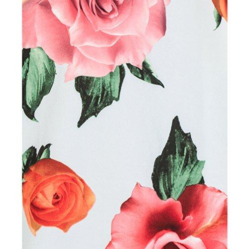 amp; Blumenaufdruck Retro London Faltenrock Roses Übergröße 1950s Hearts Vintage Jahre Blau wIxgqdWE0