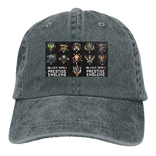 NICOTE Design Printed Breathable Hat Prestige Emblems for Black OPS II Classic Baseball-Cap Deep Heather (Call Of Duty Modern Warfare 2 Prestige)