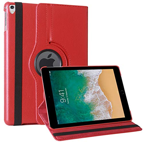 TecKraft Smart 360 Rotating Case Leather Cover for Apple iPad Pro 2 9.7 inch  Red