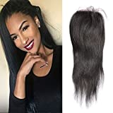 Sunwell Brazilian Virgin Human Hair Lace Closure Straight Free Part Remy Lace Front Closure Hair Piece 4x4 Hair Closures with Baby Hair 130% Density Natural Color 14