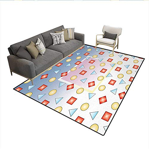Rug,Big Square on Background of Several Geometric Shapes Angle Lines Graphic Artwork,Floor Mat for Kids,MulticolorSize:5'x6']()