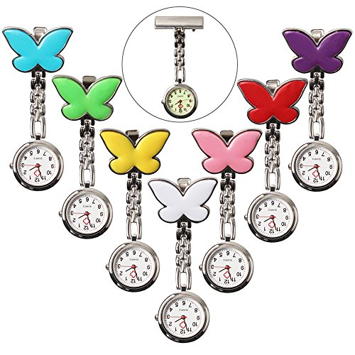 Steel Butterfly Brooch Analog Quartz Fob Pin-on Pocket Watch 7 Colors for Women (Pack of 7)