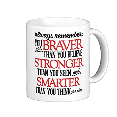 ZMvise Winnie The Pooh Inspired 'Always Remember You Are Fashion Quotes White Ceramic Mug Cup Perfect Christmas Halloween Gfit ()