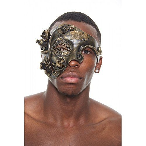 KII Bronze Terminator Steam Punk Masquerade Mask with Mesh, Rods, Gears and Computer Parts (Unisex; One Size Fits - Part Mask 1
