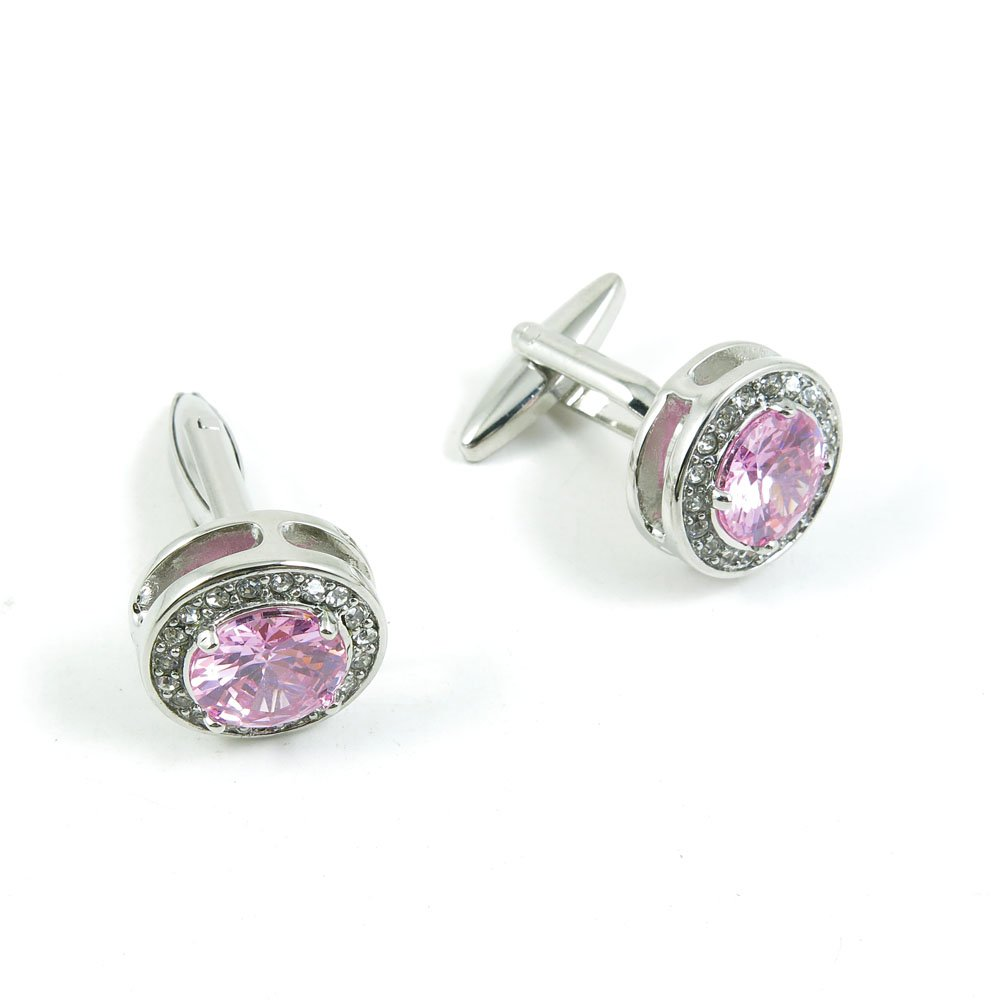 Cufflinks Cuff Links Classic Fashion Jewelry Party Gift Wedding 047987 Pink Crystal Carving