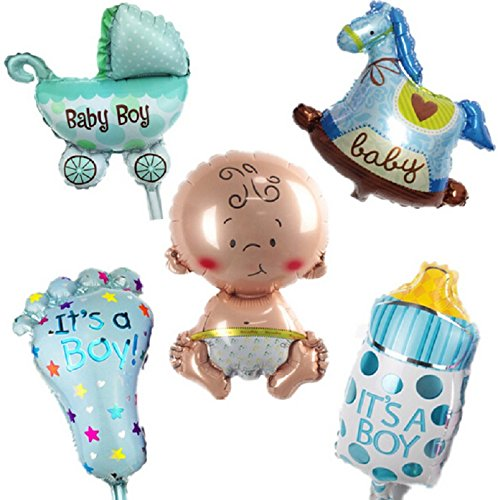 AnnoDeel 5 Pcs Baby Blue Party Balloons, 14inch Baby Shower Party Foil Baby Boy Girl Balloons Birthday Party Decoration -