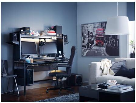 IKEA fredde ordenador estación de trabajo, negro: Amazon.es ...