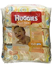 Huggies Soft Skin Baby Wipes, Soft Pack, with Shea Butter 56 Ct (3 Packs) 168 Total Wipes BOBEBE Online Baby Store From New York to Miami and Los Angeles