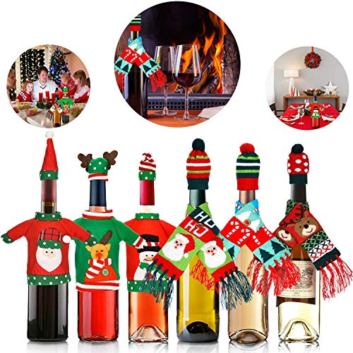 BALANSOHO 12 Pieces Christmas Bottle Covers Ugly Sweater Wine Cover Scarf Hat Bottle Decor Christmas Party Table Decorations]()