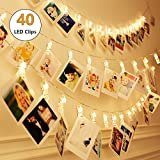 Hellum LED Photo Clip String Lights 40 Photo Clips,Fairy Lights 18.96 ft USB+Battery Powered,Wall Decoration Lights for Wedding Party Home Decor Christmas Lights Hanging Photos Pictures and Memos