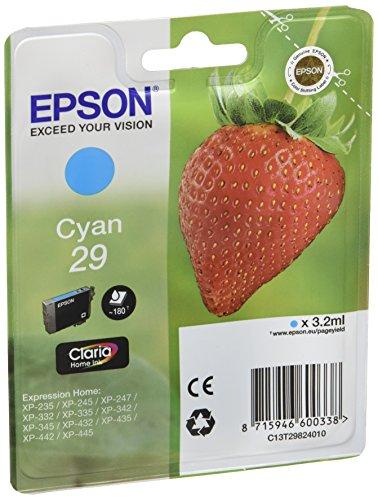 Epson 29 C - Cartucho de tinta para impresoras (Cian, Estándar, 10-80%, -40-60 °C, Epson Expression Home...