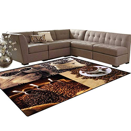 Coffee Bath Mat 3D Digital Printing Mat Rustic Collage of Images Showing Different Kinds of Roasted Grains Extra Large Area Rug 6'6