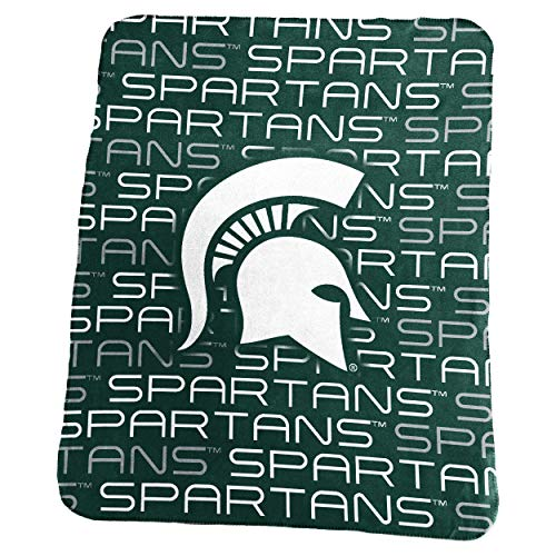 Logo Brands NCAA Michigan State Spartans Classic Fleece, One Size, Hunter (Fleece Throw State)