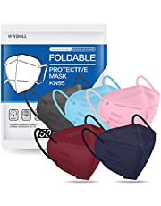 KN95 Face Mask 50 PCs, WWDOLL Multiple Colour 5 Layers KN95 Masks, Filter Efficiency≥95% Protection for Man and Women(Pink, Blue, Grey, Red, Purple)