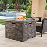 | Stonecrest | Outdoor Propane Square Fire Pit | in Grey Stone