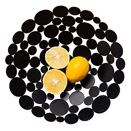 LittleMU Modern Creative Fruit Basket Bowl for Kitchen Counters, Luxury Large Metal Iron Table Centerpiece Stand for Serving Fruit, Snack and Home Decorative Balls - Black