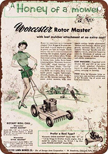 MRGT Tin Sign 7.8inch11.8inches 1954 Worcester Rotor Master Lawn Mower, diseño clásico de reproducció ()