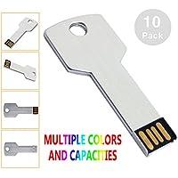 KEXIN 10Pcs 1GB USB Flash Drive Metal Key Shape USB2.0 Flash Drive Silver