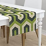 Table Runner - Geometric Greek Chevron Zigzag Italian Green Abstract by Chicca Besso - Cotton Sateen Table Runner 16 x 90