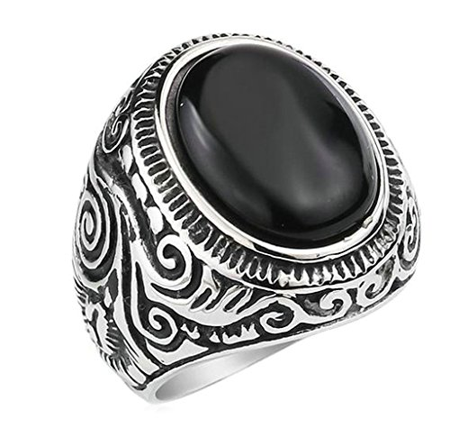 Bishilin Men's Classic Vintage Black Oval Agate Biker Stainless Steel Ring Band Size 10