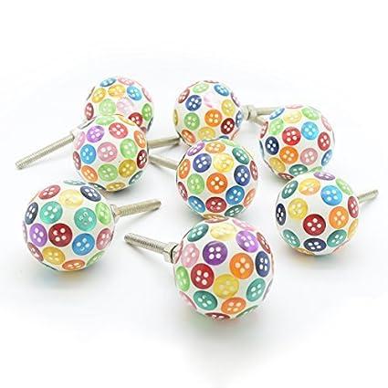 multicolor Botón Resina Armario pomos puerta x 8. Se vende ...