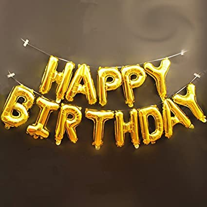 Themez Only Balloon Junction Happy Birthday Letter Foil Gold Set 13 Letters Amazonin Toys Games