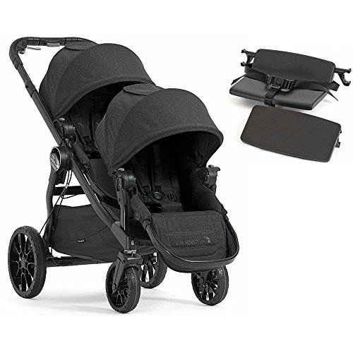 Triple Baby Jogger Stroller - Baby Jogger City Select Lux with Second Seat Double Stroller - Granite with Bench Seat