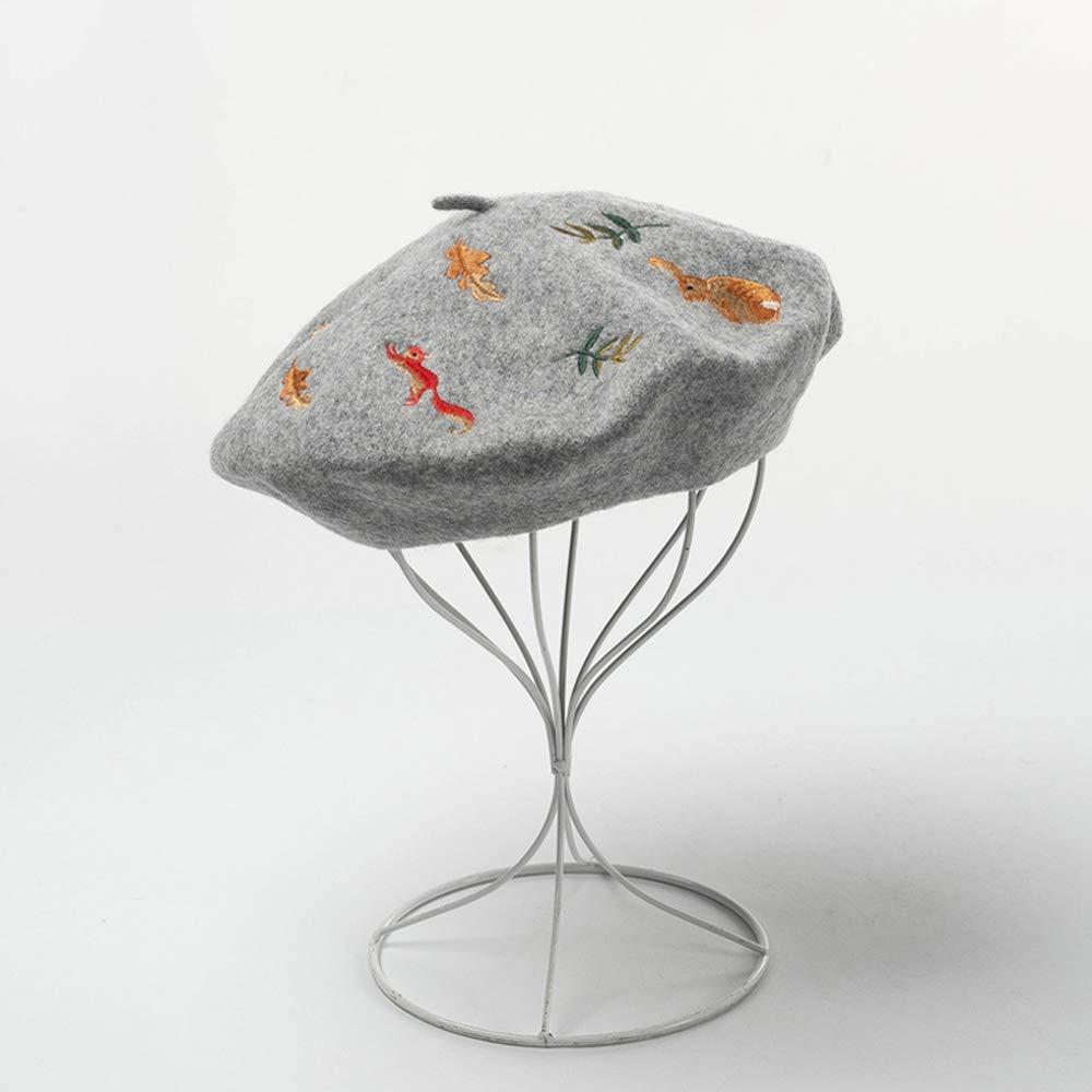DAXINYANG 100% Wool Winter Cartoon Embroidery Women Beret Hat,LightGray,L