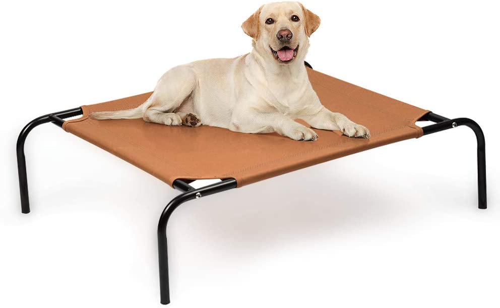 Elevated Dog Bed, Cooling Raised for Small Dogs & Cats, Waterproof Portable Pet Cot Bed for Camping Beach Outdoor Indoor Use Brown