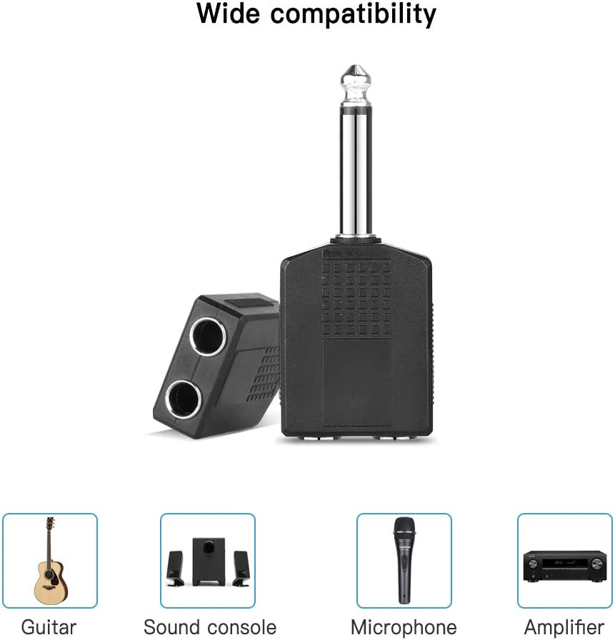 Microphone Jelanry 1//4 6.35mm Stereo Plug Male to Dual 1//4 6.35mm Jack Female Splitter Adapter Dual 6.5mm Jack Adapter Audio Y Cable Splitter for Headphone Amplifier TAA Compliant Black 2Pack