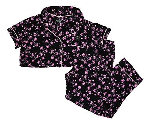 Alfani Satin Trim Floral Print Knit 2-Piece Pajama Set (Medium, (Floral Print Knit Pajamas)