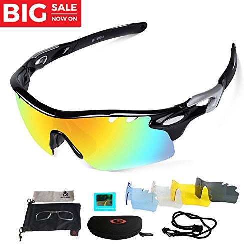 Unisex Polarized Sports Sunglasses with 3 Interchangeable Lenses Men Women Cycling Baseball Running Fishing Driving Golf Glasses,Unbreakable TR90 Frame,100% UV 400 Protection (Black (5 - Sunglasses Tac Try