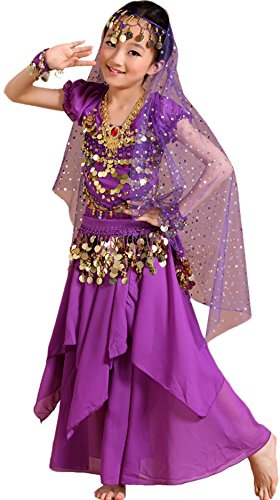 [Astage Girls Princess Costume Halloween Dance Sets Purple L 9 to 10 Years] (Child Dance Costume)