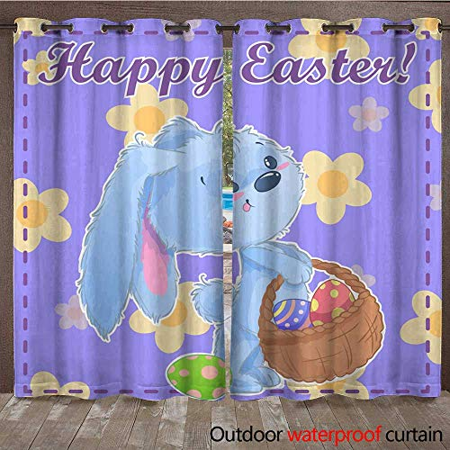 (RenteriaDecor 0utdoor Curtains for Patio Waterproof Greeting Post Card Printable Template Happy Easter with Cute Cartoon Bunny Holding Easter Eggs on a Green Background wit W96 x L108)