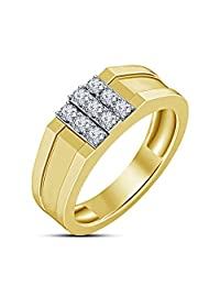 TVS-JEWELS 14K Yellow Gold Plated 925 Sterling Sivler White Nine CZ Men's Band Ring