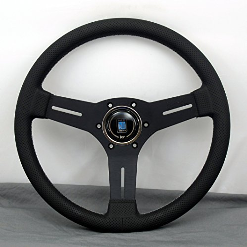 Nardi Steering Wheel - Competition - 330mm (12.99 inches) - Black Perforated Leather with Grey Stitching - Black Anodized Spokes - Classic Horn Button - Part # 6070.33.2091