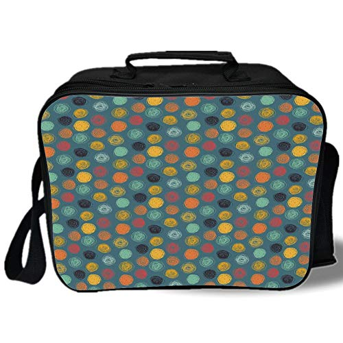 Clasp Pearl Geometrical - Insulated Lunch Bag,Modern Decor,Geometrical Sketchy Abstract Image with Colorful Circles Jade Green Backdrop,Multicolor,for Work/School/Picnic, Grey