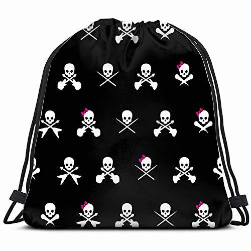 Black White Rock Musician Skull Cross Holidays Drawstring Backpack Bag For Kids Boys Girls Teens Birthday, Gift String Bag Gym Cinch Sack For School And Party]()