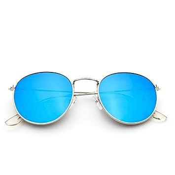 MOJINGYAN Gafas de Sol Espejo Azul Retro Metal pequeño Oval ...