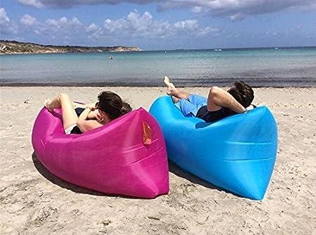 Vikidoo, Air Bed - Cojín hinchable de aire, fácil llenado, ideal para relajarse en camping, parque o playa. De poliéster, resistente al desgaste, se ...