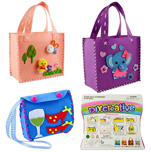 Fabric Fun Baby Kits (Sewing Kit for Kids Beginners 3 Assorted Design Sewing Pattern Bag Handbag by MeMo Toys)