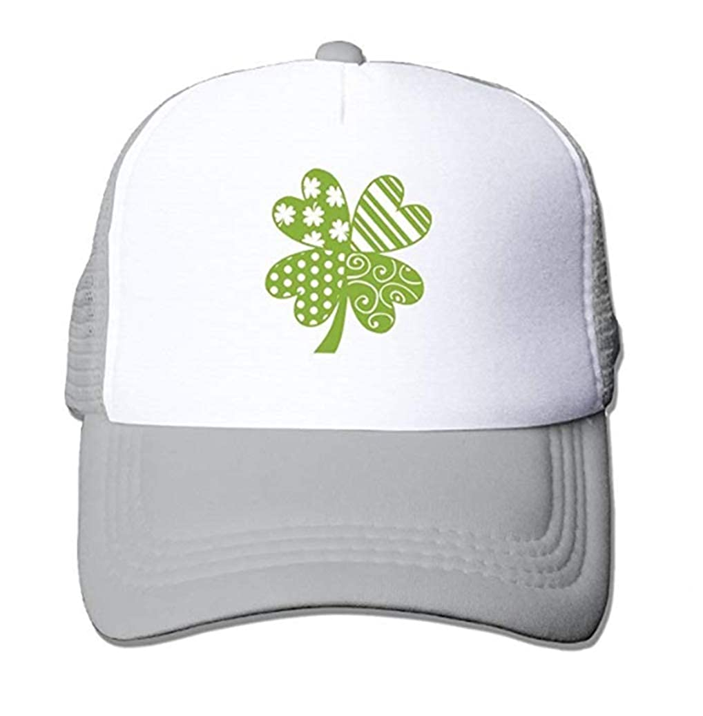 Saint Patrick Day Gift Clover Two Tone Trucker Hat Summer Mesh Cap with Adjustable Snapback Strap