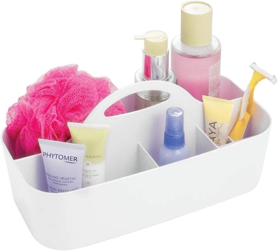 mDesign Cesta para la Ducha con 6 Compartimentos – Caja de Almacenamiento para champú, Gel, cremas, Accesorio Organizador para Ducha – Color: Blanco