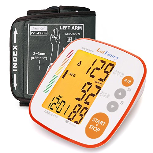 Blood Pressure Monitor by LotFancy, Automatic Upper Arm BP Cuff, 2-User Mode, 8.6 to 16.5 inches, FDA Approved