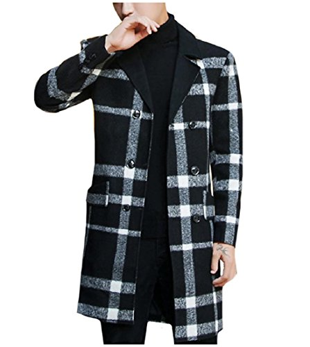 (Coolred-Men Premium Fit Woolen British Style Classic Plaid Duffle Coat Black L)