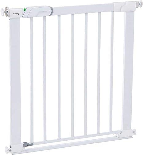 Safety 1st Easy Close Metal Barrera de seguridad metalica para puertas y escaleras, Puerta de seguridad 80 cm hasta 136 cm con extensiones, barrera escalera bebé, niños y perros, Blanco: Amazon.es: Bebé
