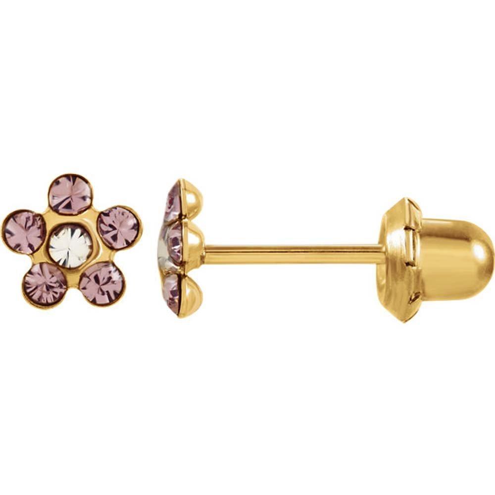 14k Yellow Gold June Kids Imitation Birthstone Flower Inverness Piercing Earrings