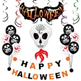 SUSHAFEN Halloween Decoration-HAPPY HALLOWEEN Bunting Banner,Colorful Spiral Ornament,Ghost Balloons Halloween Blood Balloons Halloween Party Favors Trick Party Supplies