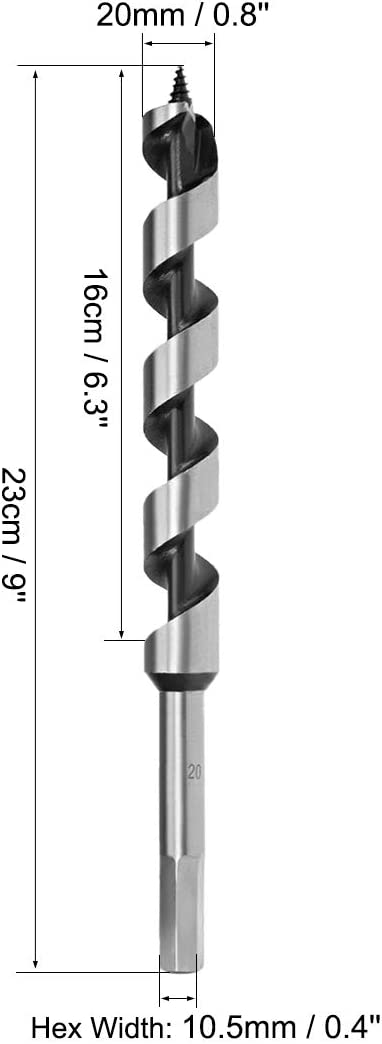 uxcell Auger Drill Bit Wood Hex Shank 20mm Cutting Dia High Carbon Steel for Electric Bench Drill Woodworking Carpentry